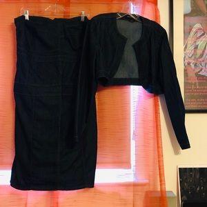 Ashley Stewart Dresses - Strapless denim dress w/ jacket